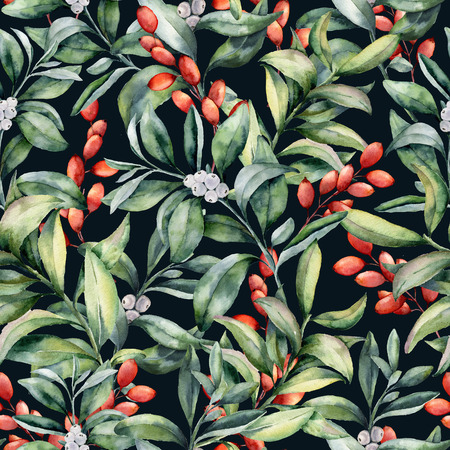 Watercolor pattern with winter plant. Hand painted snowberry leaves and branches, eucalyptus, barberry isolated on dark blue background. Holiday floral illustration for fabric, wrapping, design. Stock Photo