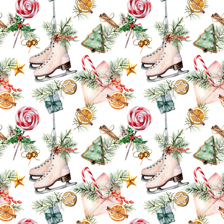 Watercolor Christmas pattern with skates and candies. Hand painted envelope, white scates, bells, candy cane, cookies, gifts, pine branch isolated on white background. Holiday illustration for design.