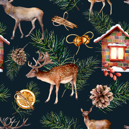 Watercolor scandinavian seamless pattern with deers. Hand painted house, deers, pine branch with cones, orange, cinnamon stick isolated on dark blue background. Holiday illustration for fabric, design