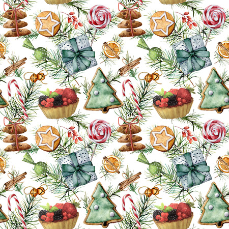 Watercolor Christmas pattern with holiday pastry. Hand painted cookies, candies, cake with berries and fruits, candy cane, lollipop,  pine branch isolated on white background. Food illustration.