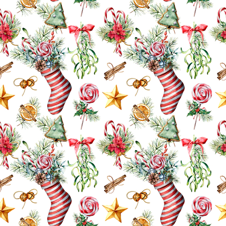 Watercolor pattern with Christmas sock and decor. Hand painted  mistletoe, holly, poinsettia, cookies, candy cane, star isolated on white background. Holiday ornament for fabric, design.
