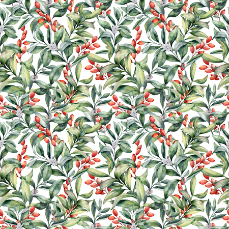 Watercolor pattern with winter plants. Hand painted snowberry leaves and branches, eucalyptus, barberry isolated on white background. Holiday floral illustration for fabric, wrapping, design.