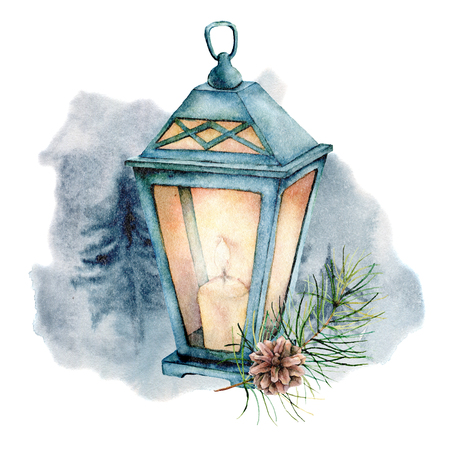 Watercolor  winter illustration with glowing lantern. Cute decorative composition: candle lamp, fir branch and pine cone isolated on white background. Hand drawn cozy icon.