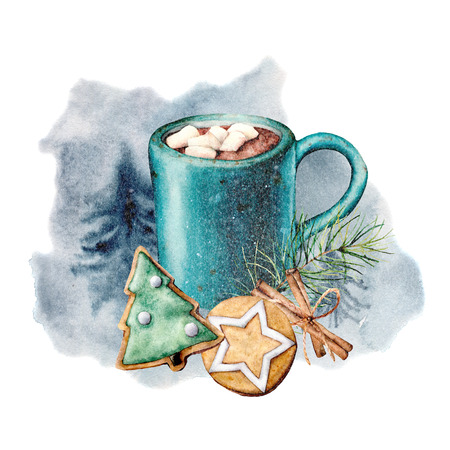 Watercolor cozy card with cacao and pastry. Hand painted cup of cacao, marshmallow, cookies and cinnamon sticks isolated on white background. Holiday symbols. Seasonal Christmas trendy illustration.