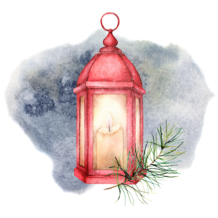 Watercolor  winter illustration with red glowing lantern and snow. Cute decorative composition: candle lamp, fir branch and pine cone isolated on white background. Hand drawn cozy icon.