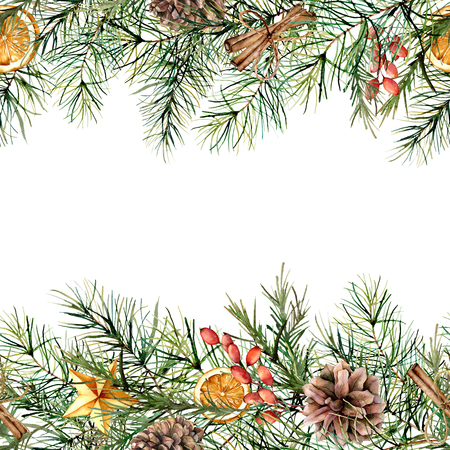 Watercolor winter floral border. Hand painted garland with berries and fir branch, cinnamon, orange, pine cone isolated on white background. Holiday card for design, print. Christmas illustration
