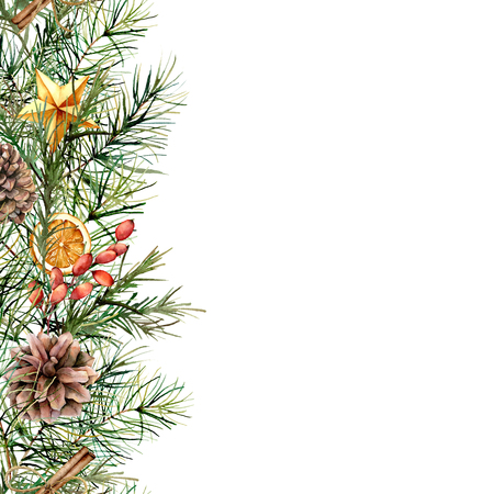 Watercolor winter floral card with fir branch. Hand painted garland with berries, cinnamon, orange, pine cone isolated on white background. Holiday border for design, print. Christmas illustration