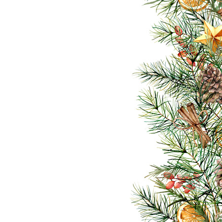 Watercolor winter floral card with fir branch and decor. Hand painted garland with berries, cinnamon, orange, pine cone isolated on white background. Holiday Christmas border for design, print.