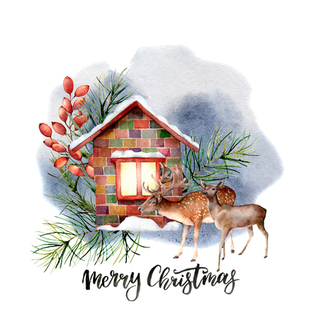 Watercolor forest landscape scene with Christmas lettering. Snowy house with floral decor and reindeers isolated on white background. Hand painted vintage Christmas card for print, design.