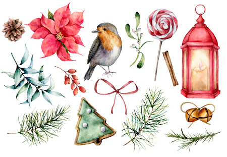 Watercolor set with Christmas symbols. Hand painted winter plants, bullfinch bird, decor isolated on white background. Holiday floral and objects illustration for design, print, background Zdjęcie Seryjne