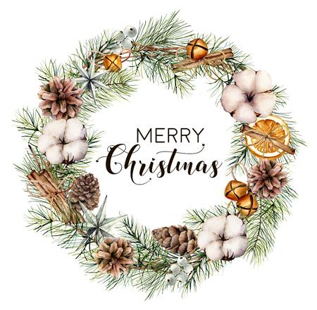 Guirnalda floral acuarela feliz Navidad. Borde de abeto pintado a mano con conos, algodón, rodajas de naranja, campanas, ramas de canela aisladas sobre fondo blanco. Impresión botánica para diseño, decoración.