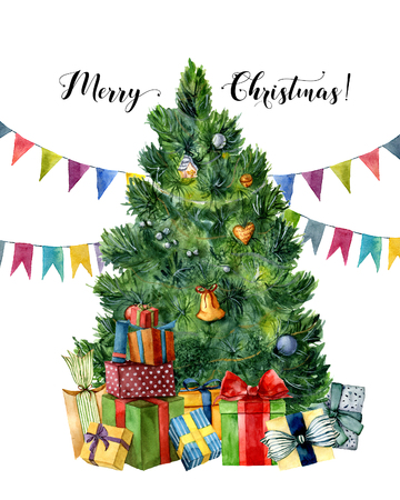Watercolor card with Christmas tree, presents and flag garlands. Hand painted gift boxes with bows, pine tree with Christmas toys isolated on white background. Holiday illustartion for design, print