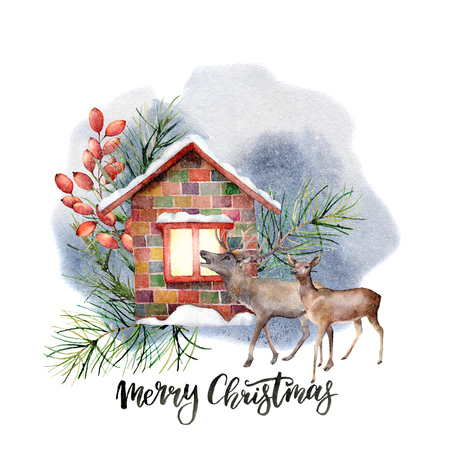 Watercolor forest landscape scene. Snowy house with floral decor and reindeers isolated on white background. Hand painted vintage Christmas card with Merry Christmas lettering. 写真素材