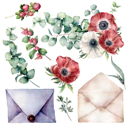 Watercolor wedding decor elements. Hand drawn red an white anemones with eucalyptus leaves and branches, berries and envelopes isolated on white background. Floral illustration for invitations, design