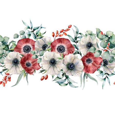Watercolor seamless bouquet with red and white anemones. Hand painted flowers with eucalyptus leaves and branches, berries isolated on white background. Floral elegant illustration for design, print