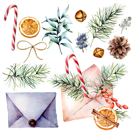 Watercolor Christmas set with envelopes and decor. Hand drawn old and  modern envelopes, eucalyptus and pine tree branches, berries, cone, orange, bells and ribbon isolated on white background.