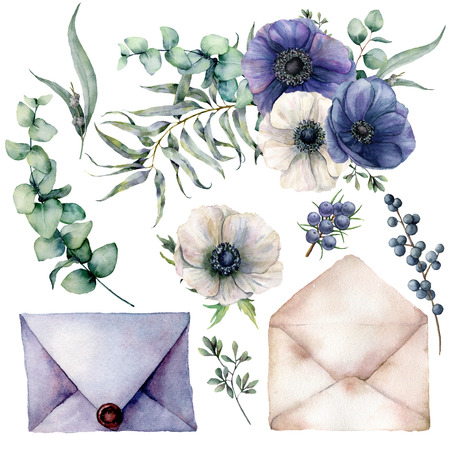 Watercolor wedding blue an white decor elements. Hand drawn anemones with eucalyptus leaves and branches, berries and envelopes isolated on white background. Floral illustration for design Stock Photo