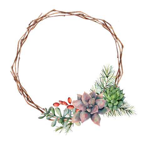 Watercolor winter wreath with succulents, pine tree branch, berries and eucalyptus. Hand painted cacti, rosemary, eucalyptus leaves and branches isolated on white background. Botanical illustration.