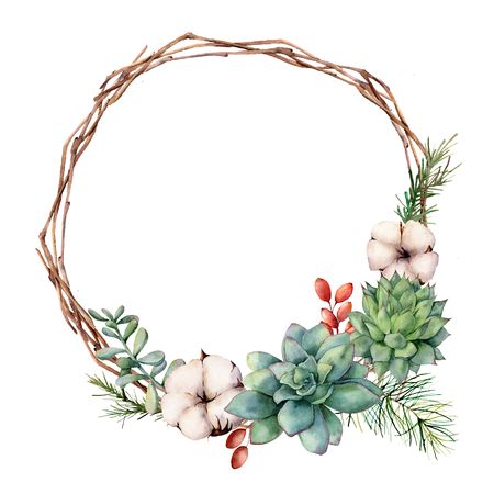 Watercolor winter wreath with succulents. Hand painted cacti, rosemary, rosemary leaves and branches, cotton flowers, berries, pine tree isolated on white background. Botanical illustration. 스톡 콘텐츠