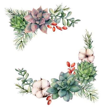 Watercolor winter bouquet with succulents, tree branch, berries and eucalyptus. Hand painted cacti, cotton flowers, eucalyptus leaves and branches isolated on white background. Botanical illustration.