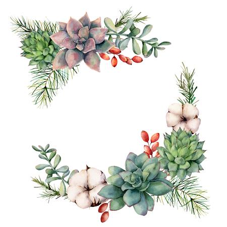 Aquarell-Winterblumenstrauß mit Sukkulenten, Baumzweig, Beeren und Eukalyptus. Handgemalte Kakteen, Baumwollblumen, Eukalyptusblätter und Zweige isoliert auf weißem Hintergrund. Botanische Abbildung.