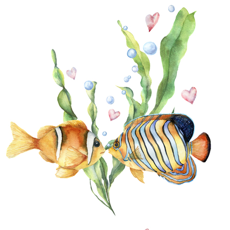 Watercolor Love card with tropical fishes. Hand painted laminaria leaves and branch, two fishes, air bubbles and hearts isolated on white background. Valentines Day concept. Holiday illustration.