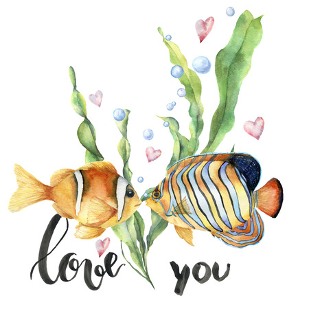 Watercolor Valentines Day card with tropical fishes. Hand painted laminaria leaves and branch, two fishes, air bubbles and hearts isolated on white background. Love you lettering. Stock Photo - 114631180