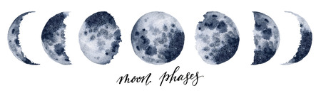 Watercolor moon phases. Hand painted various phases isolated on white background. Hand drawn modern space design for print.