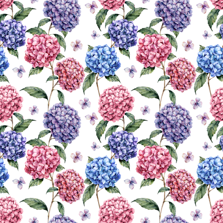 Watercolor hydrangea seamless pattern. Hand painted blue, violet, pink flowers with leaves and branch isolated on white background.  Nature botanical illustration for design, print, fabric Stock Photo