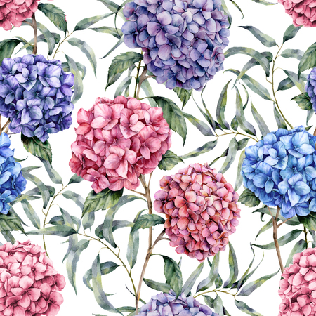 Watercolor hydrangea and eucalyptus pattern. Hand painted blue, violet, pink flowers with eucalyptus leaves and branch isolated on white background.  Nature botanical illustration for design, fabric Stock Photo
