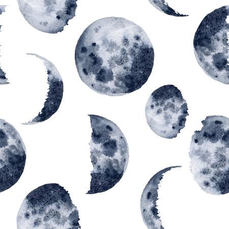 Modèle de phases de lune aquarelle. Diverses phases peintes à la main isolées sur fond blanc. Conception d'espace moderne dessinée à la main pour l'impression, le tissu, le textile, la couverture