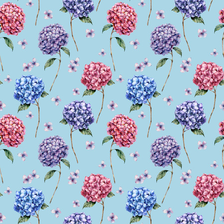 Watercolor pattern with pink and blue hydrangea. Hand painted blue, violet, pink flowers with leaves and branch isolated on blue background.  Nature botanical illustration for design, print Stock Photo