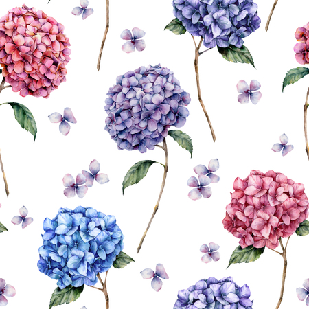 Watercolor pink and blue hydrangea seamless pattern. Hand painted blue, violet, pink flowers with leaves and branch isolated on white background. Nature botanical illustration for design, print