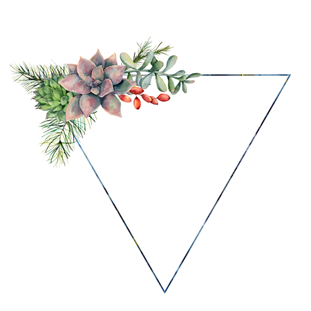 Watercolor triangle frame with succulents bouquet. Hand drawn modern floral label with succulents leaves and branches, berries isolated on white background. Greeting template for design, print Stockfoto