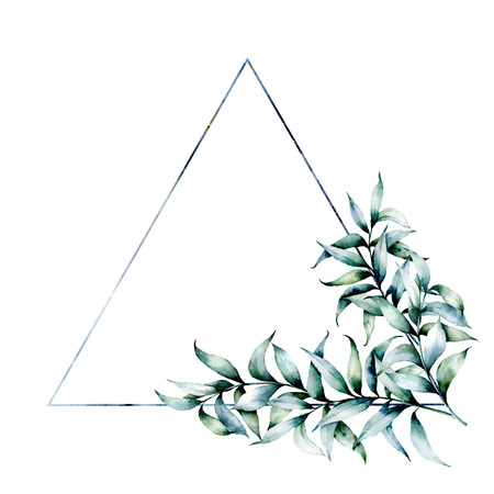Watercolor triangle frame with eucalyptus. Hand drawn modern floral label with eucalyptus leaves and branches isolated on white background. Wedding, greeting template for design, print Stockfoto - 116175060