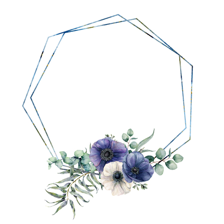Watercolor hexagonal frame with blue anemone bouquet. Hand drawn modern floral label with eucalyptus leaves and branches, flowers isolated on white background. Greeting template for design, print 免版税图像 - 116175062