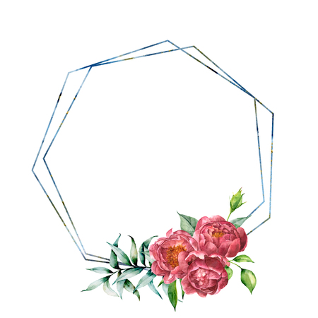 Watercolor hexagonal frame with peony bouquet. Hand drawn modern floral label with eucalyptus leaves and branches, peony flowers isolated on white background. Greeting template for design, print 免版税图像