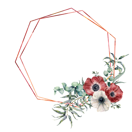 Watercolor hexagonal frame with anemone bouquet. Hand drawn modern floral label with eucalyptus leaves and branches, anemone flowers isolated on white background. Greeting template for design, print