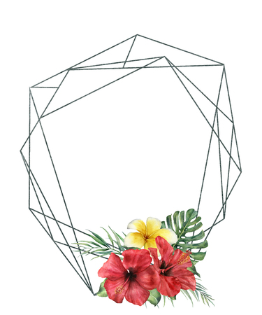 Watercolor polygonal frame with hibidcus bouquet. Hand drawn modern floral label with palm leaves and branches, plumeria and monstera isolated on white background. Greeting template for design, print