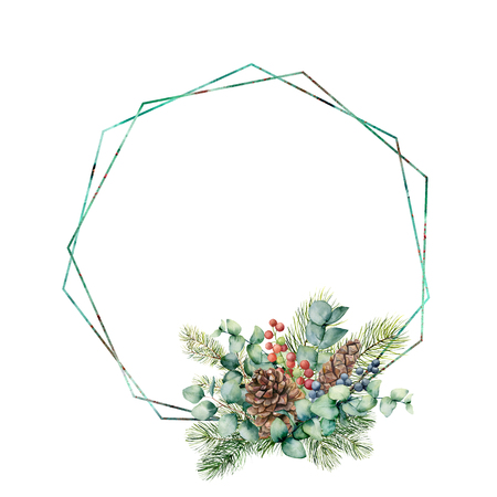 Watercolor bouquet with eucalyptus leaves, cone, fir branch and berries on polygonal frame. Hand painted green branch, red, blue berries isolated on white background. Illustration for design, print Stock Photo