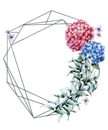 Watercolor polygonal frame with hydrangea bouquet. Hand drawn modern floral label with eucalyptus leaves and branches, hydrangea flowers isolated on white background. Greeting template for design.