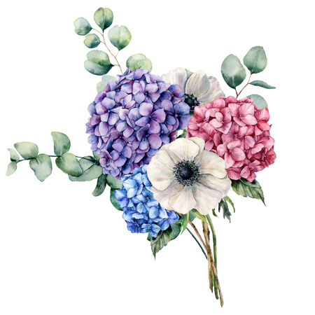 Watercolor elegance bouquet with flowers. Hand painted pink, blue and violet hydrangea, white anemone with eucalyptus leaves and branch isolated on white background. Botanical illustration for design Stock Photo