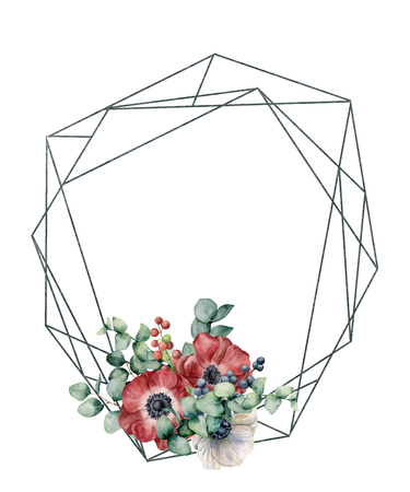 Watercolor polygonal frame with anemone bouquet. Hand drawn modern floral label with eucalyptus leaves and branches, red and white anemone isolated on white background. Greeting template for design.