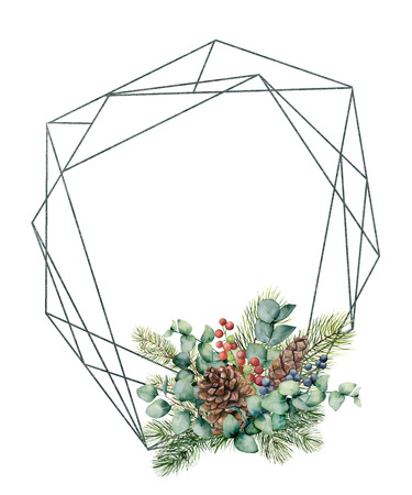 Watercolor polygonal frame with winter composition. Hand drawn modern floral label with eucalyptus leaves and fir branch, pine cones isolated on white background. Greeting template for design, print Фото со стока