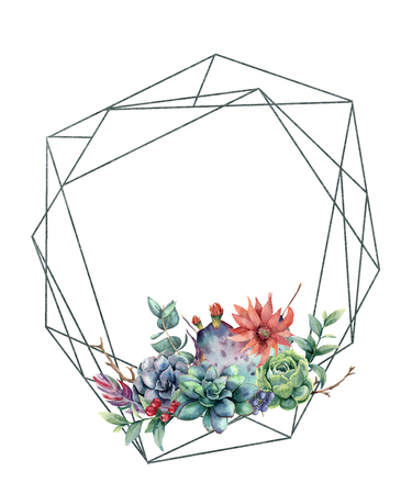 Watercolor polygonal frame with cacti and succulents. Hand drawn modern floral label with eucalyptus leaves and branches, succulents, feathers isolated on white. Greeting template for design, print Stock Photo