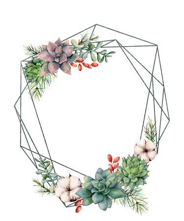 Watercolor polygonal frame with succulents and eucalyptus. Hand drawn modern floral label with eucalyptus leaves and branches isolated on white. Wedding, greeting template for design, print Stockfoto - 116174933