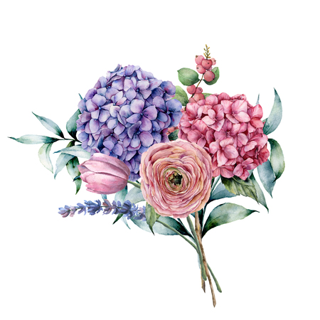 Watercolor bouquet with flowers and eucalyptus. Hand painted pink and violet hydrangea, tulip, lavender,  ranunculus with eucalyptus leaves and branch isolated on white background for design, print
