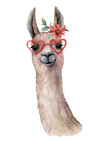 Carte aquarelle avec lama, fleur et lunettes de soleil. Belle illustration peinte à la main avec animal, fleur rouge et lunettes de soleil isolés sur fond blanc. Pour la conception, l'impression, le tissu ou l'arrière-plan.