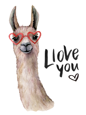 Watercolor Llove you card with llama and sunglasses. Hand painted beautiful illustration with animal, sunglasses and lettering isolated on white background. For design, print, fabric or background.