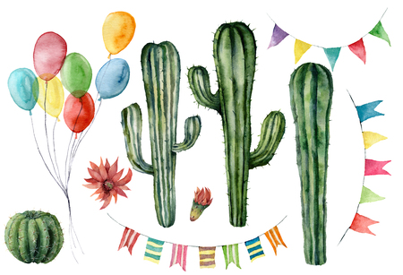 Watercolor cacti and flags garlands set. Hand drawn vintage colorful air balloons for holiday or birthday. Party illustrations isolated on white background for design, print, fabric or background.